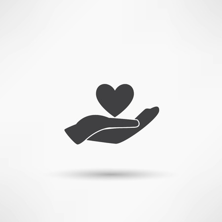 Hands and heart. Icon of kindness and charity Vector