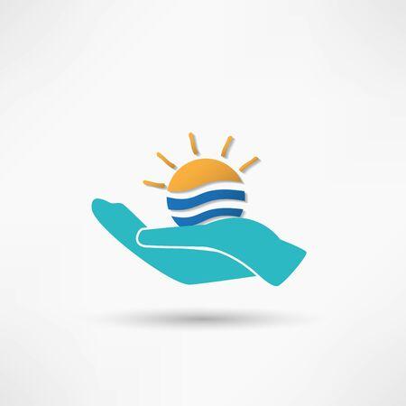 Sun in hand creative idea Vector