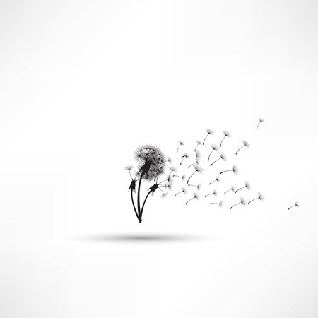 blowing dandelion: tarassaco soffia vettoriale Vettoriali