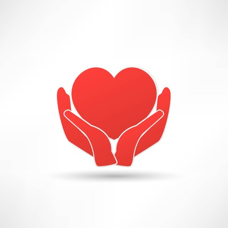 Hands and heart. Icon of kindness and charity 일러스트