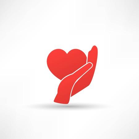 gentillesse: Mains et le c?ur. Ic�ne de bont� et de charit� Illustration