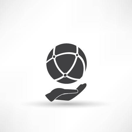 holding globe: hand holding globe, social network Illustration