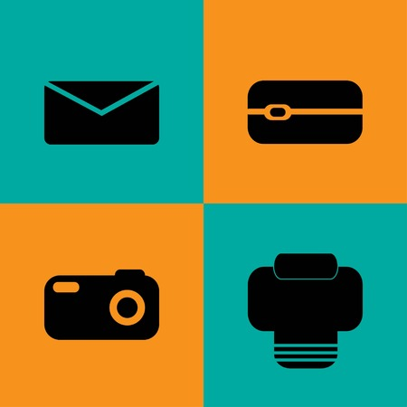 adress book: Vector Communication flat icons set