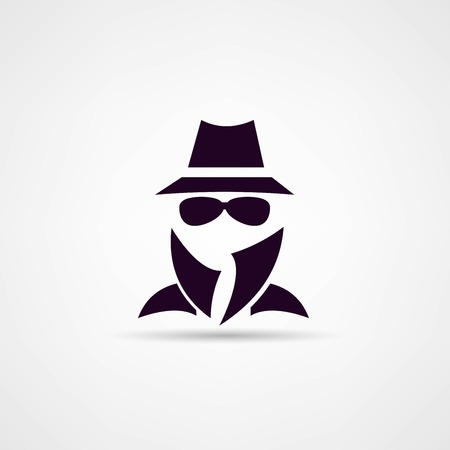 Man in suit. Secret service agent icon Illustration