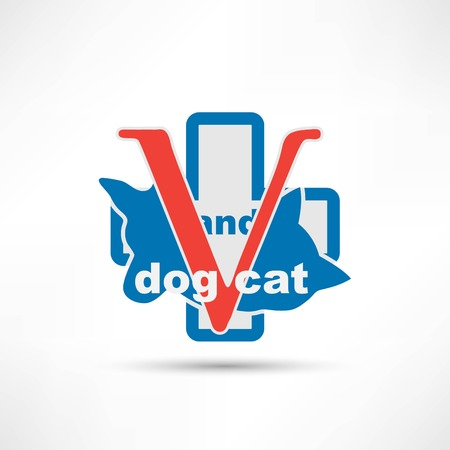 Veterinary sign cat and dog symbol Illustration