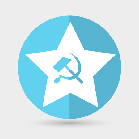 lenin: Communist star with hammer and sickle on white background. Illustration