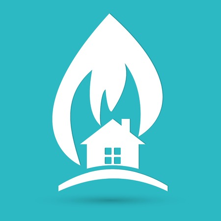 ruined house: house in fire warning icon Illustration
