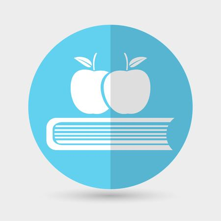 Book with apples icon Illustration