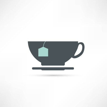 flavorful: cup with tea bag icon Illustration