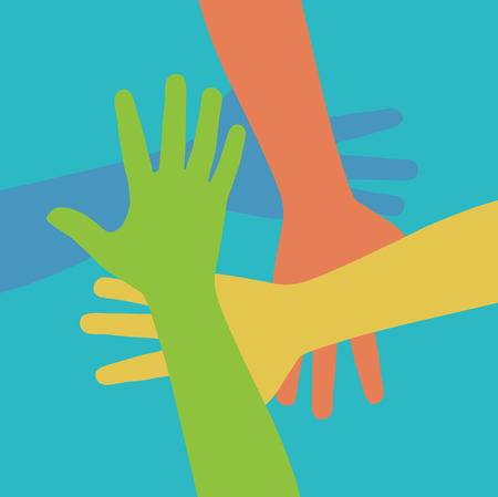 helping people: Team symbol. Multicolored hands