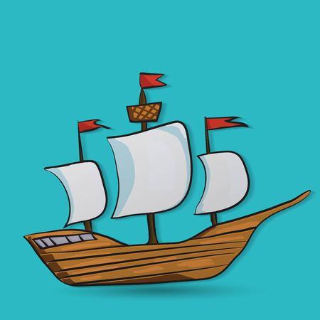 pirate crew: sailing vessel Illustration
