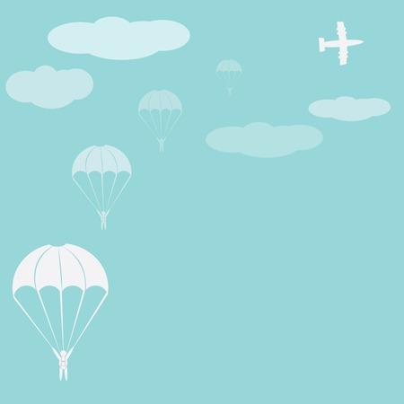 skydiver: Parachute sport illustration