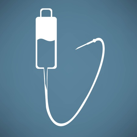intravenous: Intravenous therapy system icon.Medical dropper