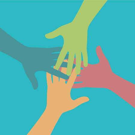 friends together: Team symbol. Multicolored hands