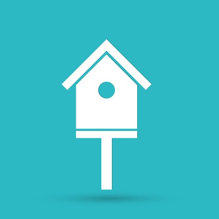 nestling birds: bird-house icon Illustration