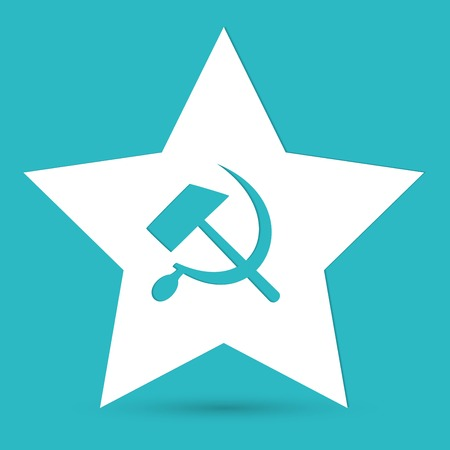 collectives: Communist star with hammer and sickle on white background. Illustration