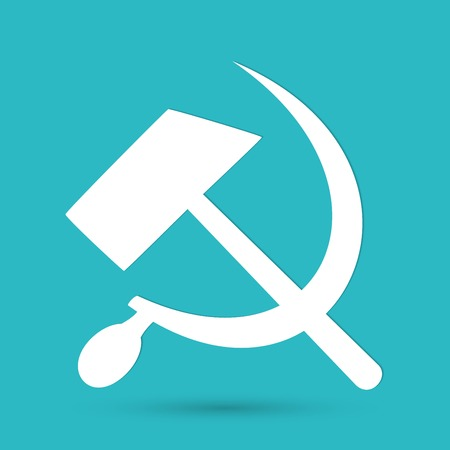 communist: Communist star with hammer and sickle on white background. Illustration