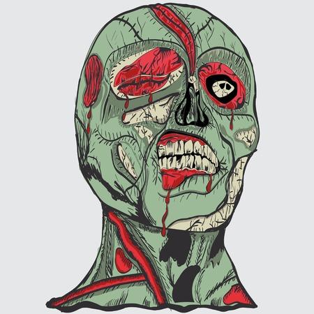 rotten teeth: zombie head with brain Illustration
