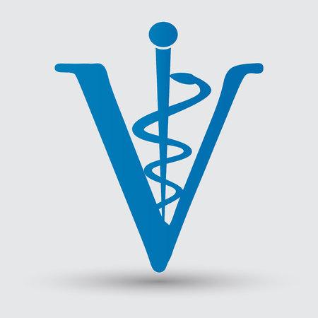 caduceus veterinary symbol: Veterinary sign symbol Illustration