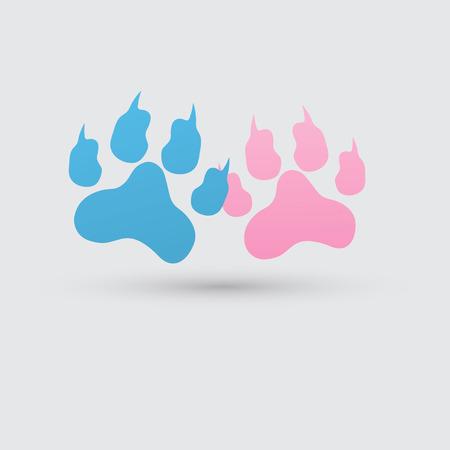 muddy: colored footprints illustration.