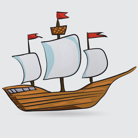 pirate crew: sailing vessel Illustration