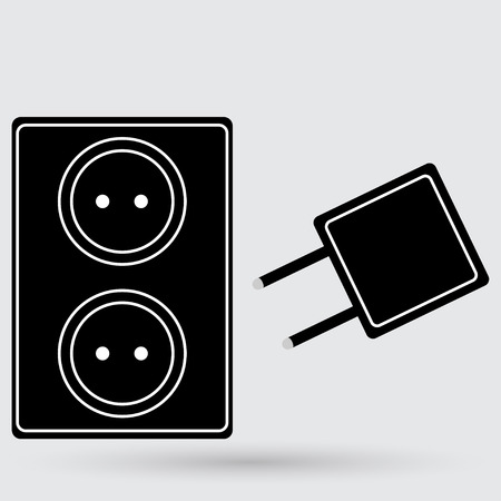 grounded plug: Electric outlet icon