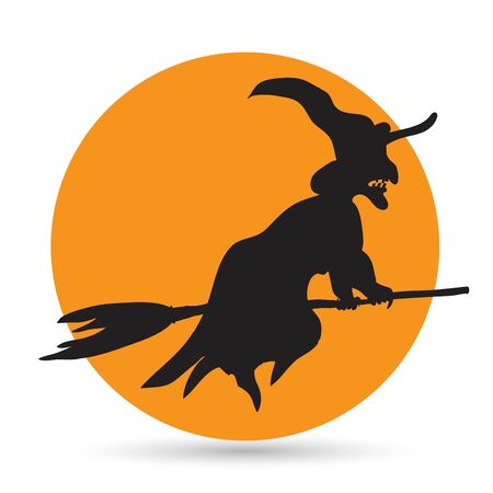 witch face: Witch flying on a broomstick