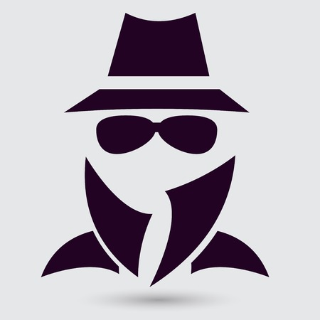 secret: Man in suit. Secret service agent icon Illustration
