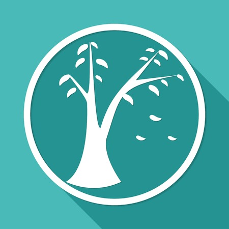Icon leaf on white circle with a long shadow Vector