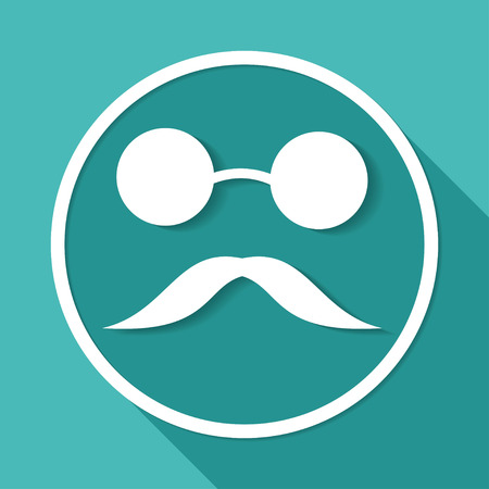 blind man: blind man icon on white circle with a long shadow Illustration