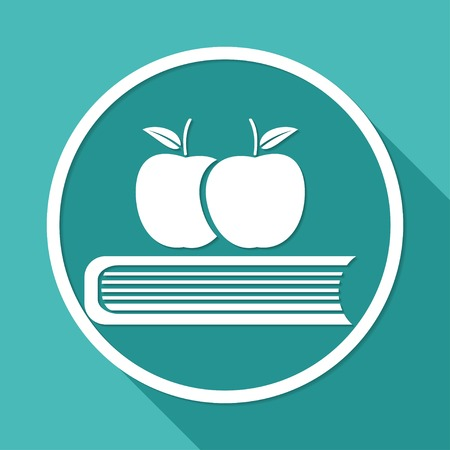 astute: Book icon on white circle with a long shadow
