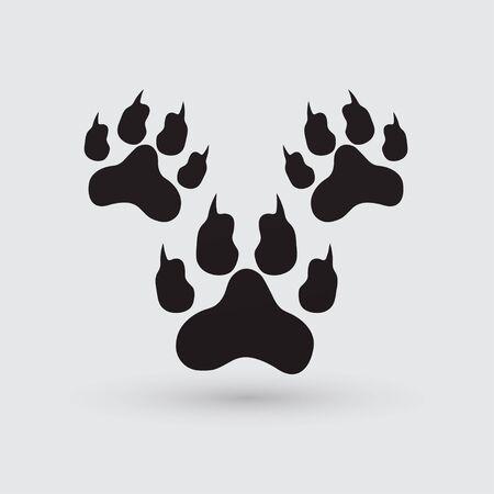 muddy track: footprints illustration. Illustration