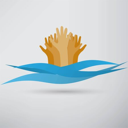 drowning: Drowning and reaching out hand for help