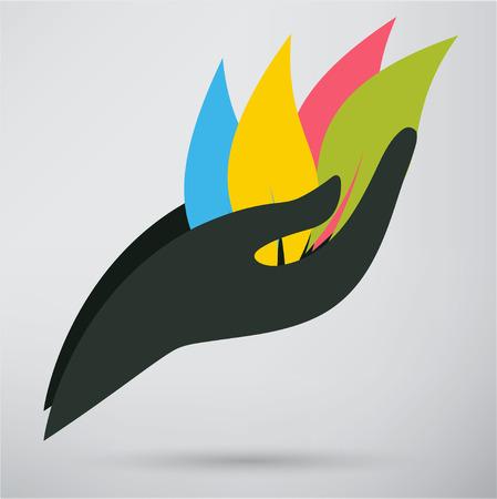 Mains et icône de la plante