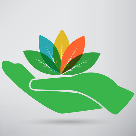 Hands and plant icon Illustration