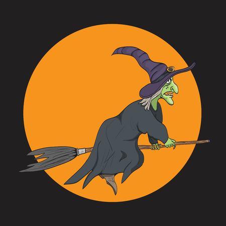 strega che vola: Witch volare su una scopa Vettoriali