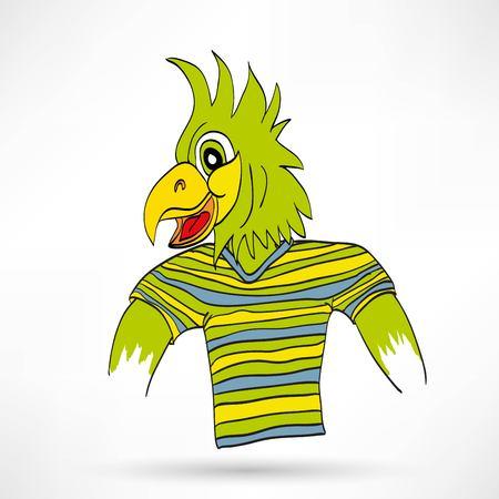 vector illustration dressed parrot Vector