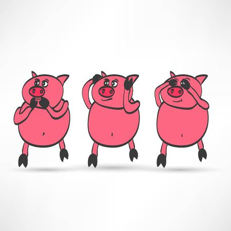 critique: illustration of cartoon Three pigs - see, hear, speak no evil