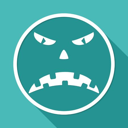 Scary face of halloween illustration on white circle with a long shadow Vector