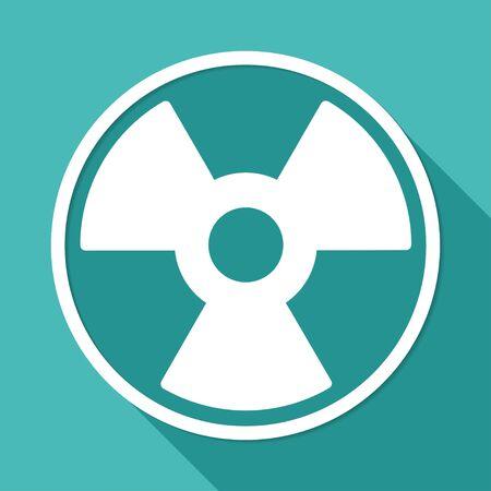 radium: radiation symbol on white circle with a long shadow