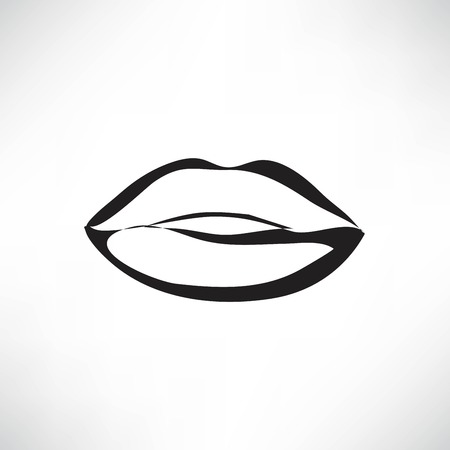 Kiss lips vector lipstick icon passion symbol people Ilustrace