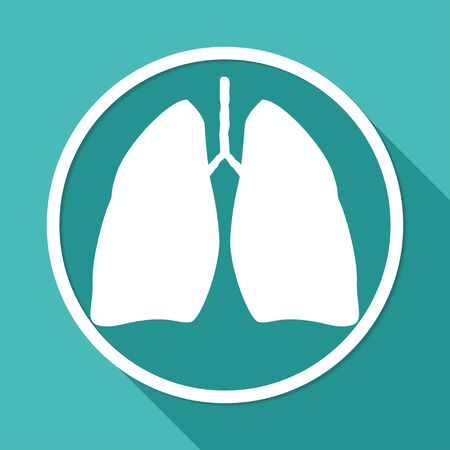 pulmones: Icon Lungs on white circle with a long shadow