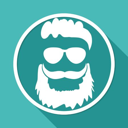 old man portrait: Icon beard on white circle with a long shadow