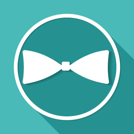 occassion: bow tie icon on white circle with a long shadow