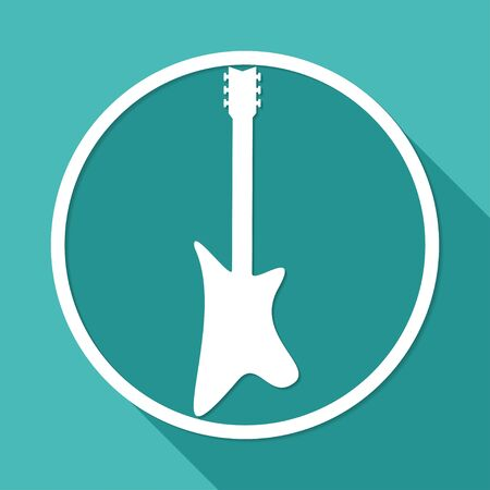 retrospect: guitar icon on white circle with a long shadow Illustration