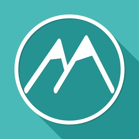 Mountain icon on white circle with a long shadow Illustration