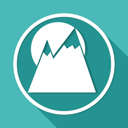 mountainside: Mountain icon on white circle with a long shadow Illustration