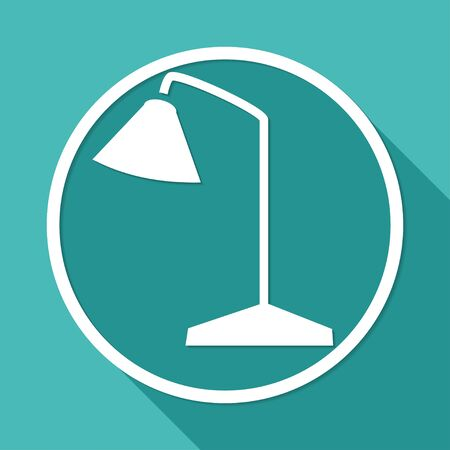 Icon Light bulb on white circle with a long shadow