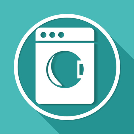 fully automatic: washing machine icon on white circle with a long shadow