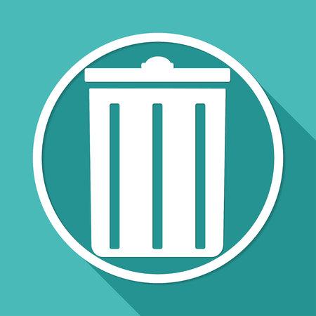 kompost: M�lleimer auf wei�em Kreis mit einem langen Schatten icon